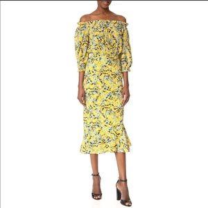 Saloni Grace Yellow Off The Shoulder Midi Dress